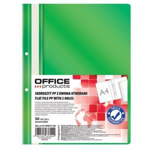 Skoroszyt OFFICE PRODUCTS, PP, A4, 2 otw ory, 100/170mikr., wpinany, zielony