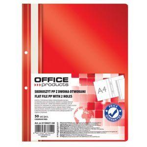 Skoroszyt OFFICE PRODUCTS, PP, A4, 2 otw ory, 100/170mikr., wpinany, czerwony