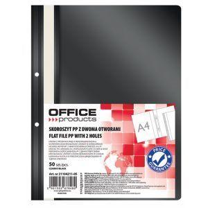 Skoroszyt OFFICE PRODUCTS, PP, A4, 2 otw ory, 100/170mikr., wpinany, czarny
