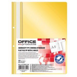 Skoroszyt OFFICE PRODUCTS, PP, A4, 2 otw ory, 100/170mikr., wpinany, żółty