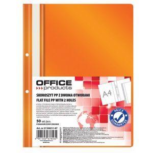 Skoroszyt OFFICE PRODUCTS, PP, A4, 2 otw ory, 100/170mikr., wpinany, pomarańczowy