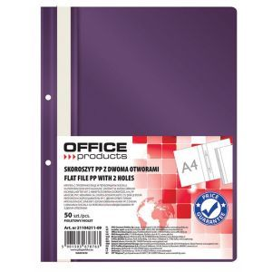 Skoroszyt OFFICE PRODUCTS, PP, A4, 2 otw ory, 100/170mikr., wpinany, fioletowy