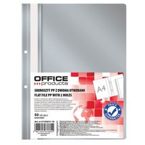 Skoroszyt OFFICE PRODUCTS, PP, A4, 2 otw ory, 100/170mikr., wpinany, szary