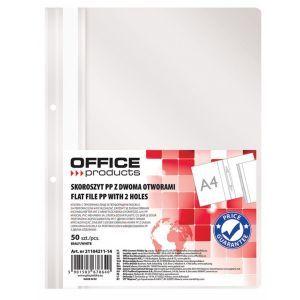 Skoroszyt OFFICE PRODUCTS, PP, A4, 2 otw ory, 100/170mikr., wpinany, biały