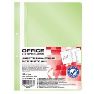 Skoroszyt OFFICE PRODUCTS, PP, A4, 2 otw ory, 100/170mikr., wpinany, jasnozielony