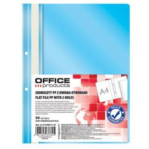Skoroszyt OFFICE PRODUCTS, PP, A4, 2 otw ory, 100/170mikr., wpinany, jasnoniebies
