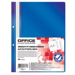 Skoroszyt OFFICE PRODUCTS, PP, A4, 2 otw ory, 100/170mikr., wpinany, granatowy
