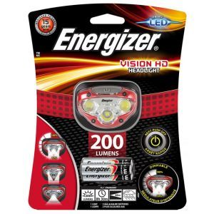 Latarka czołowa ENERGIZER Vision HD Head light + 3szt. baterii AAA, czerowna