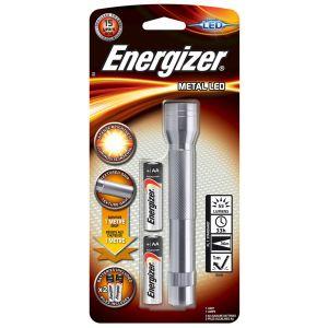 Latarka ENERGIZER Metal + 2szt. baterii  AA, srebrna