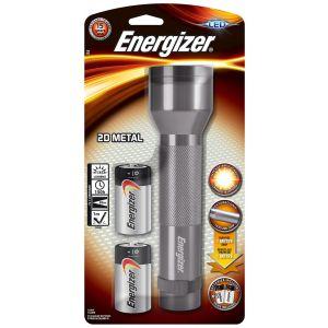 Latarka ENERGIZER Metal + 2szt. baterii  D, srebrna