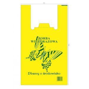 Reklamówki wielorazowe HDPE 32/8/55 MOTYL 18mikronów, cena za opakowanie 100szt