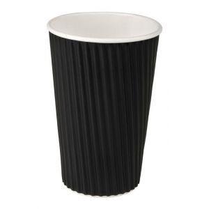 Kubek latte papierowy 490ml dwuwarstwowy czarny, cena za opakowanie 20szt