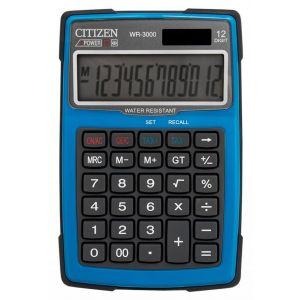 Kalkulator wodoodporny CITIZEN WR-3000,  152x105mm, niebieski