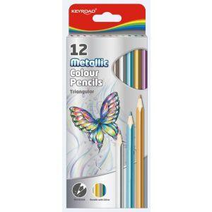 Kredki ołówkowe KEYROAD, trójkątne, meta liczne, 12szt., mix kolorów