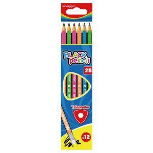 Ołówek drewniany KEYROAD, 2B, trójkątny,  mix kolorów
