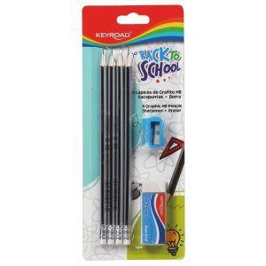Zestaw ołówków dreanianych KEYROAD, z gu mką i temperówką, HB, blister, mix kolor