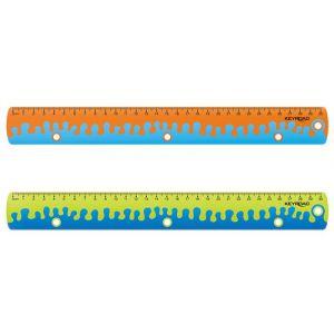 Linijka z uchwytem KEYROAD Coral, 30 cm,  pakowane w display, mix kolorów
