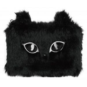 Piórnik-saszetka MEMORIS Fluffy Cat, wło chata, na suwak, czarna