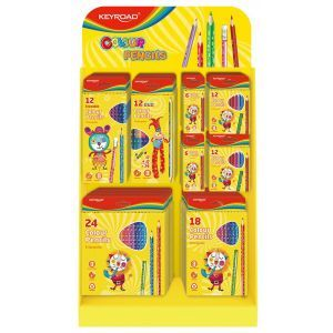 Small display KEYROAD Colour Pencils, cardboard, folding, no accessories, yellow