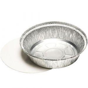 Foremka aluminiowa okrągła 1000ml z pokrywką tektura + PE, fi 22,9cm, cena za opakowanie 25szt.