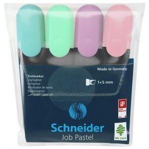 Zestaw zakreślaczy SCHNEIDER Job Pastel,  1-5 mm, 4 szt., mix kolorów