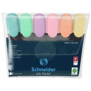Zestaw zakreślaczy SCHNEIDER Job Pastel,  1-5 mm, 6 szt., mix kolorów