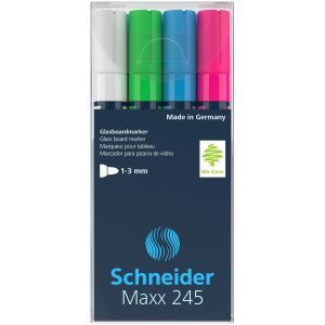 Glass boards marker SCHNEIDER Maxx 245 B, 2-3mm, 4pcs, color mix