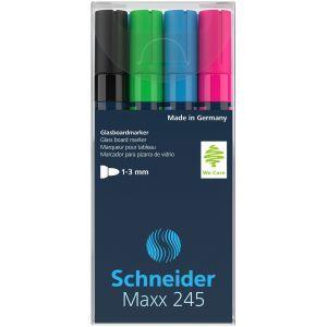 Glass boards marker SCHNEIDER Maxx 245 C, 2-3mm, 4pcs, color mix