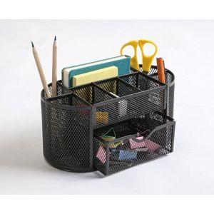 Przybornik na biurko Q-CONNECT Office Set, metalowy, z szufladką, czarny