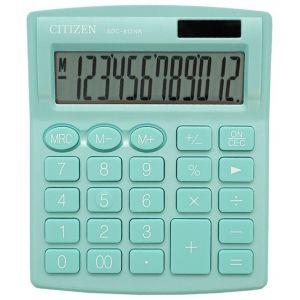 Office calculator CITIZEN SDC-812NRGRE, 12 digits, 127x105mm, green