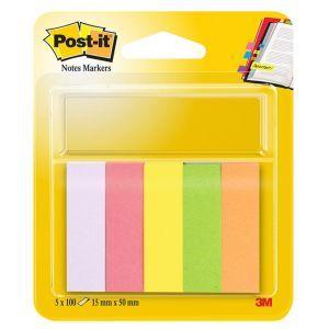 Znaczniki POST-IT® (670/5), papier, 15x5 0mm, 5x100 kart., mix kolorów neonowy