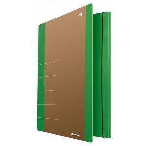 Teczka z gumką DONAU Life, Karton, A4, 5 00gsm, 3-skrz., zielony