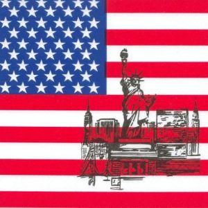 Serwetki 33x33 3W Flaga Ameryki, cena za opakowanie 50szt