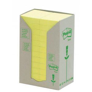 Eco-friendly pads POST-IT® (653-1T), 38x51mm, 24x100 sheets, yellow