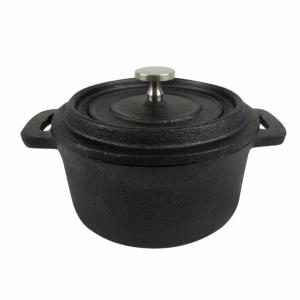 Cast iron mini round dish with lid fi.12,7x5,7 cm (k/6)