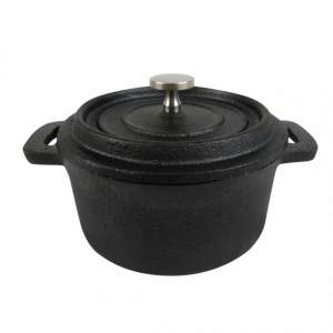 Cast iron mini round dish with lid fi.14x6 cm (k/12)