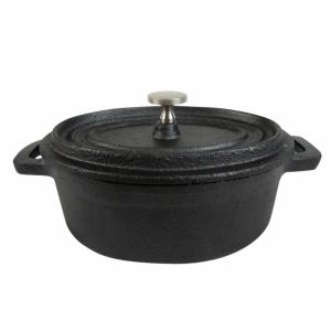 Cast iron mini oval dish with lid 12,4x9,2x4,85 cm (k/12)