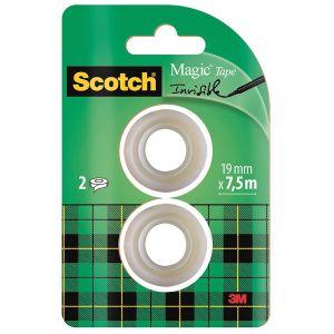 Taśma biurowa SCOTCH® Magic™ (8-1975R2),  matowa, 19mm, 7,5m, 2szt. op. 1 szt.