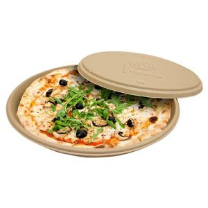 Pudełka pizza 35cm trzcina op.50szt. fi 35,7x3,3cm  (k/3)