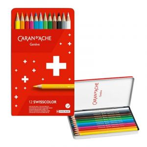 Crayons CARAN DACHE Swisscolor Aquarelle, with aquarelle effect, hexagonal, 12pcs, color mix
