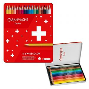 Crayons CARAN DACHE Swisscolor Aquarelle, with aquarelle effect, hexagonal, 18pcs, color mix