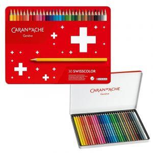 Crayons CARAN DACHE Swisscolor Aquarelle, with aquarelle effect, hexagonal, 30pcs, color mix