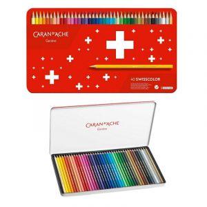 Crayons CARAN DACHE Swisscolor Aquarelle, with aquarelle effect, hexagonal, 40pcs, color mix