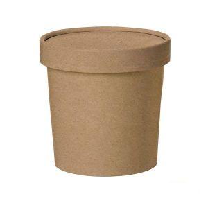 Pojemnik papierowy 350ml KRAFT z pokrywką śr.95xh.85mm kpl 25 sztuk