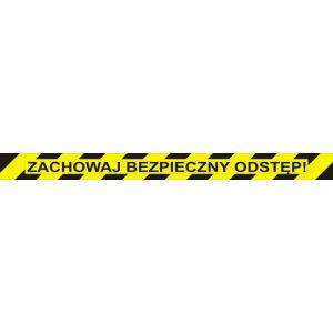 Naklejka podłogowa OFFICE PRODUCTS, zachowaj bezpieczny odstęp, 103x10cm, żółta op. 1 szt.