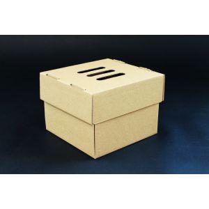 Pudełko burger XXL rozkładane, brązowe 15x15x10 cm, op. 100 sztuk