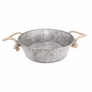 Galwanizowana stalowa miska okrągła z uchwytami fi.35,5x11cm
