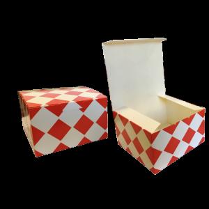 Pudełko BURGER, KURCZAK, NUGGETS, rozmiar 130x130x80mm,, nadruk KRATKA CZERWONA, cena za opakowanie 100szt