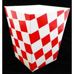 Kubełek papierowy na popcorn lub kurczaki KRATKA CZERWONA opakowanie 100szt