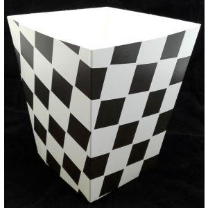 Kubełek papierowy na popcorn lub kurczaki KRATKA CZARNA opakowanie 100szt